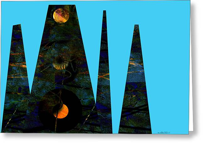 Geometric Digital Art Greeting Cards - abstract - art- Mystical Moons  Greeting Card by Ann Powell