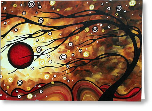 Original Artwork For Sale Greeting Cards - Abstract Art Original Circle Painting FLAMING DESIRE by MADART Greeting Card by Megan Duncanson