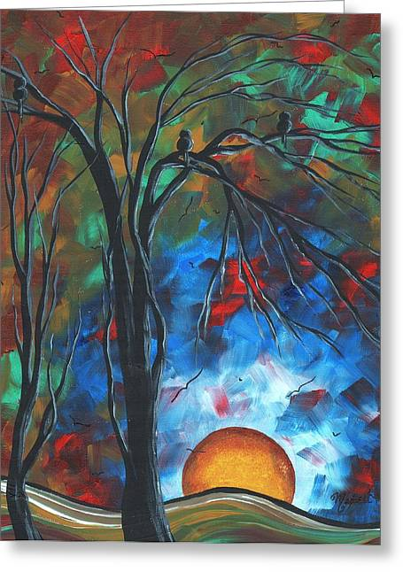 Licensor Greeting Cards - Abstract Art Original Colorful Bird Painting SPRING BLOSSOMS by MADART Greeting Card by Megan Duncanson