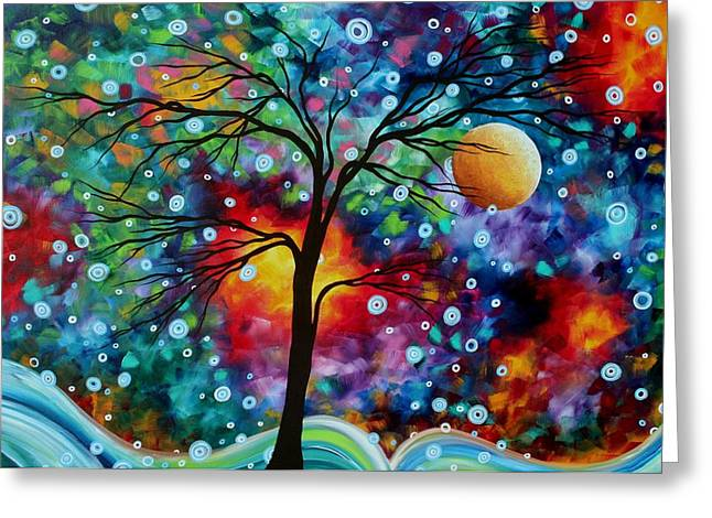 Abstract Art Original Colorful Landscape Painting A MOMENT IN TIME by MADART Greeting Card by Megan Duncanson