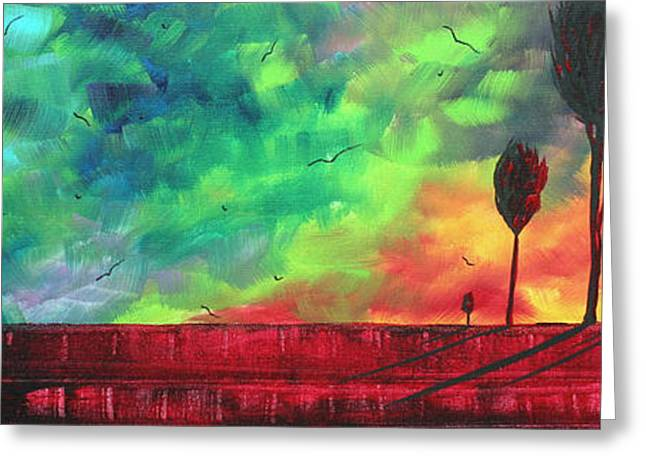 Abstract Style Greeting Cards - Abstract Art Original Colorful Landscape Painting BURNING SKIES by MADART  Greeting Card by Megan Duncanson