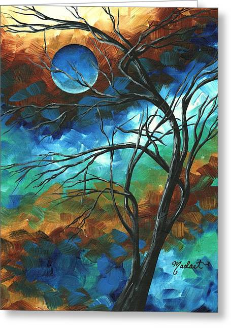 Abstract Art Original Colorful Painting Mystery Of The Moon By Madart Greeting Card by Megan Duncanson