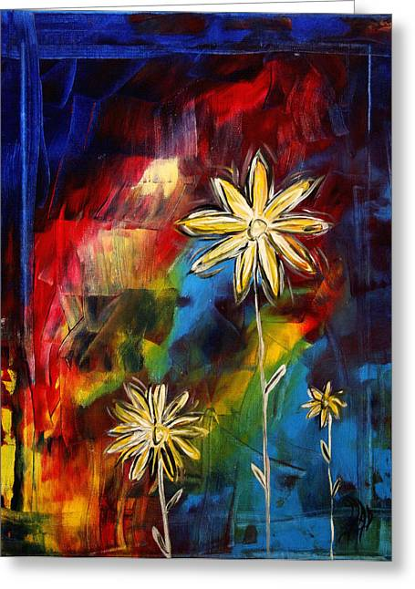 Abstract Style Greeting Cards - Abstract Art Original Daisy Flower Painting VISUAL FEAST by MADART Greeting Card by Megan Duncanson