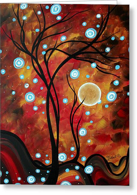 Abstract Art Original Landscape Circle Painting Fairy Dust By Madart Greeting Card by Megan Duncanson