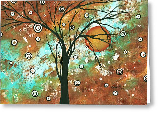 Abstract Art Original Landscape Painting Bold Circle Of Life Design Autumns Eve By Madart Greeting Card by Megan Duncanson