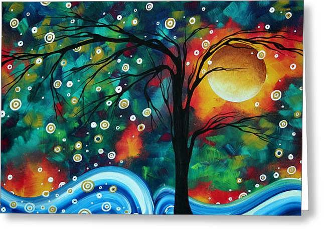 Bold Style Greeting Cards - Abstract Art Original Landscape Painting Bold Circle of Life Design DANCE THE NIGHT AWAY by MADART Greeting Card by Megan Duncanson