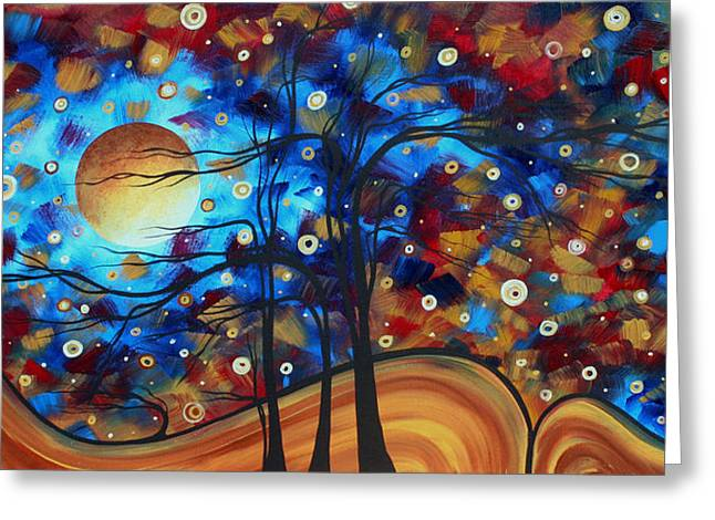 Huge Abstract Art Greeting Cards - Abstract Art Original Landscape Painting Bold Circle of Life Design SHOW ME THE WAY by MADART Greeting Card by Megan Duncanson
