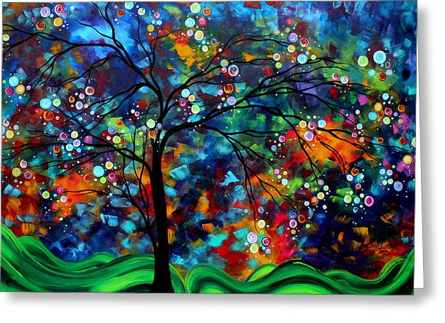 Trending Greeting Cards - Abstract Art Original Landscape Painting Bold Colorful Design SHIMMER IN THE SKY by MADART Greeting Card by Megan Duncanson
