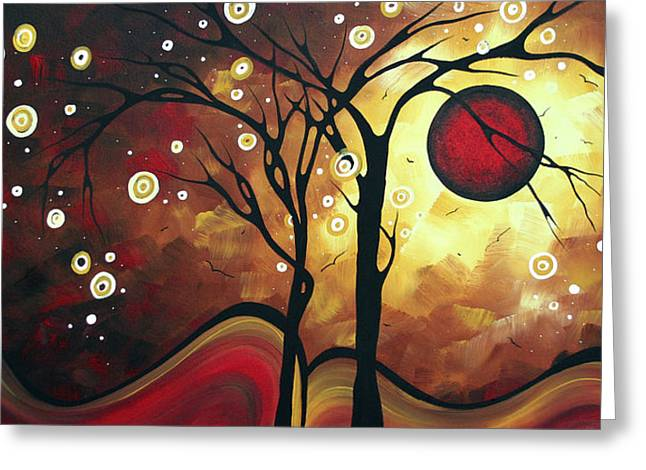 Huge Abstract Art Greeting Cards - Abstract Art Original Landscape Painting CATCH THE RISING SUN by MADART Greeting Card by Megan Duncanson