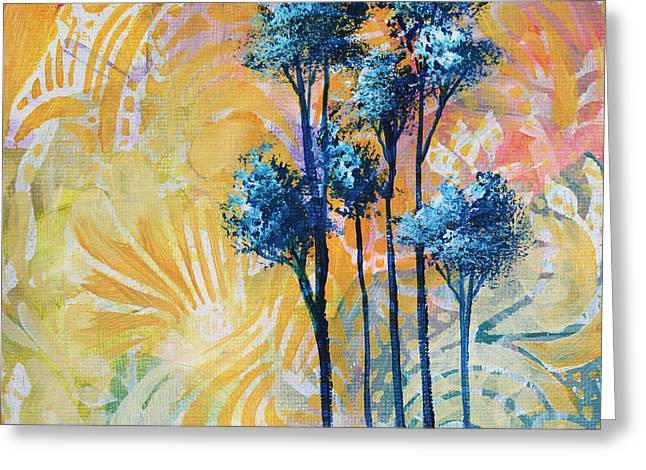 Abstract Art Original Landscape Painting Contemporary Design Blue Trees II By Madart Greeting Card by Megan Duncanson