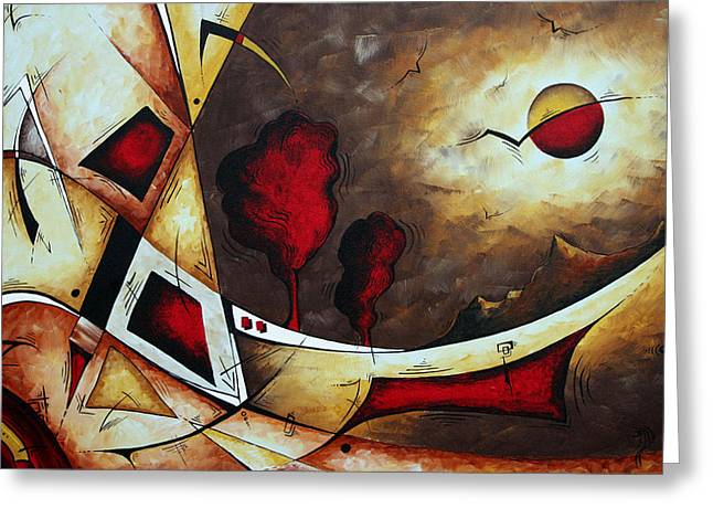 Abstract Art Original Landscape Painting Cosmic Destiny By Madart Greeting Card by Megan Duncanson