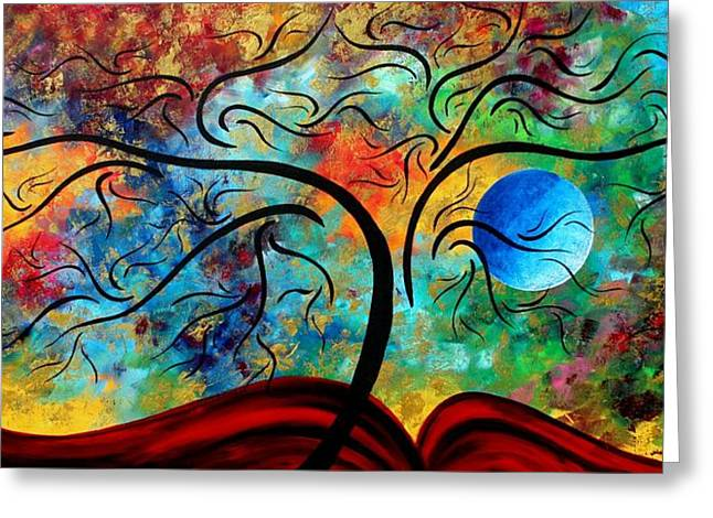 Abstract Art Original Landscape Painting Metallic Gold Textured Blue Moon Rising By Madart Greeting Card by Megan Duncanson