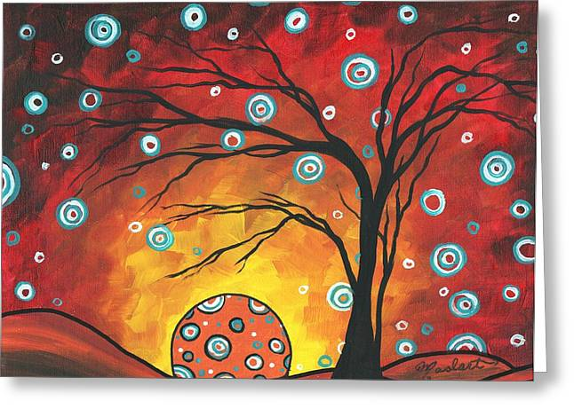 Licensor Greeting Cards - Abstract Art Original Landscape Painting SETTING SUN by MADART Greeting Card by Megan Duncanson