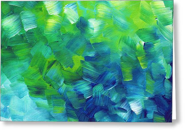 Abstract Art Original Textured Soothing Painting SEA OF WHIMSY I by MADART Greeting Card by Megan Duncanson