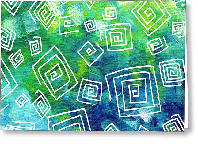 Licensor Greeting Cards - Abstract Art Original Textured Soothing Painting SEA OF WHIMSY II by MADART Greeting Card by Megan Duncanson