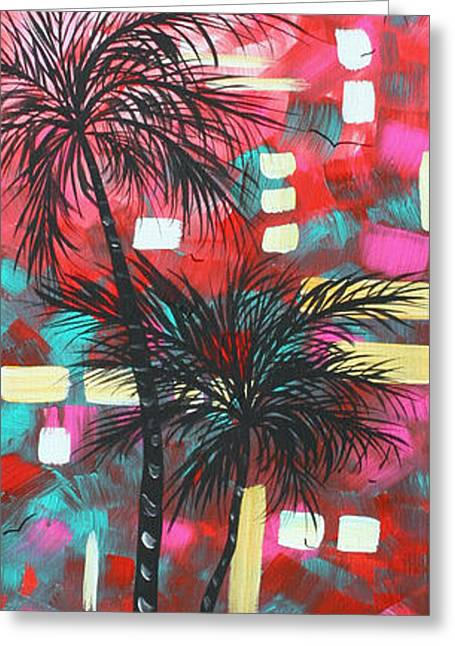 Tangerine Greeting Cards - Abstract Art Original Tropical Landscape Painting FUN IN THE TROPICS by MADART Greeting Card by Megan Duncanson