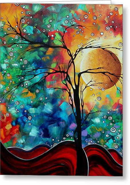 Oversized Art Greeting Cards - Abstract Art Original Whimsical Modern Landscape Painting BURSTING FORTH by MADART Greeting Card by Megan Duncanson