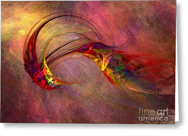 Abstract Art Print Hummingbird Greeting Card by Karin Kuhlmann