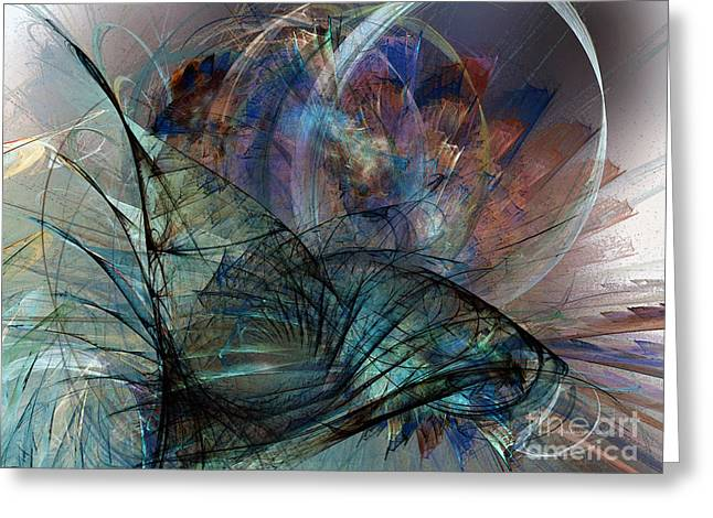 Abstract Art Print In The Mood Greeting Card by Karin Kuhlmann