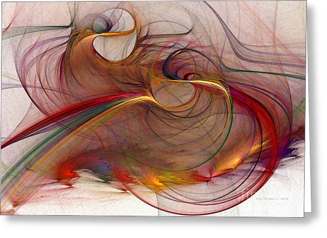 Lucid Greeting Cards - Abstract Art Print Inflammable Matter Greeting Card by Karin Kuhlmann