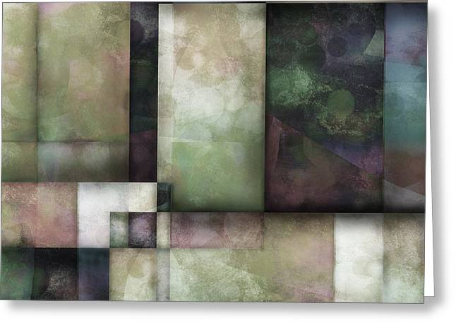 Moss Green Greeting Cards - abstract - art-  Spring Twilight One   Greeting Card by Ann Powell