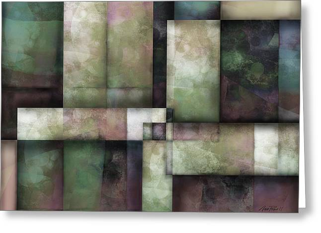 Moss Green Greeting Cards - abstract art Spring Twilight Three Greeting Card by Ann Powell