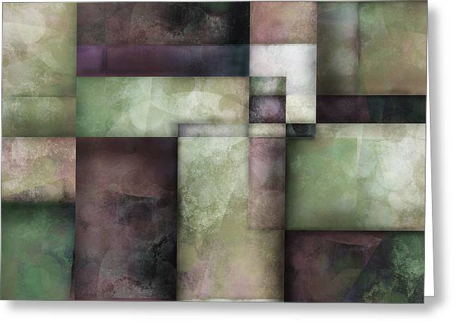 Moss Green Greeting Cards - abstract - art-  Spring Twilight Two Greeting Card by Ann Powell