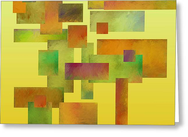Modern Digital Art Digital Art Greeting Cards - abstract-art- Squares Collage Three Greeting Card by Ann Powell