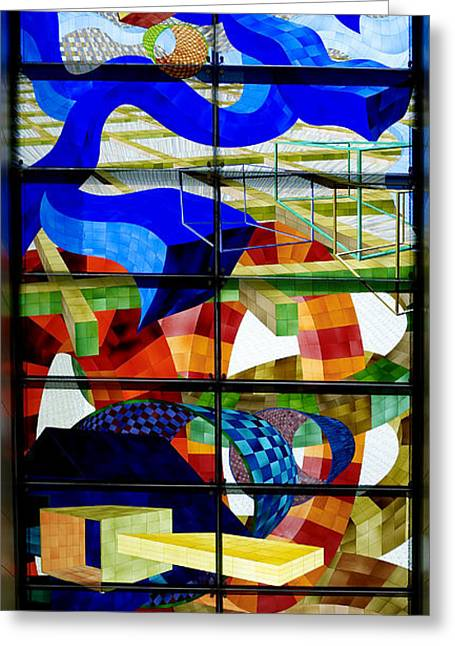 Art Glass Glass Art Greeting Cards - Abstract Art Stained Glass Greeting Card by Mountain Dreams