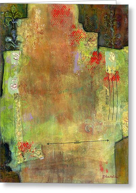 Fine Mixed Media Greeting Cards - Abstract Art Where the Love is Greeting Card by Blenda Studio