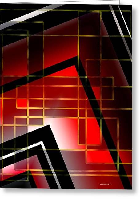 Transparency Geometric Digital Greeting Cards - Abstract art with lines on red  Greeting Card by Mario  Perez