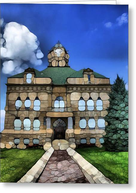Walk Paths Mixed Media Greeting Cards - Abstract Auglaize County Courthouse Greeting Card by Dan Sproul