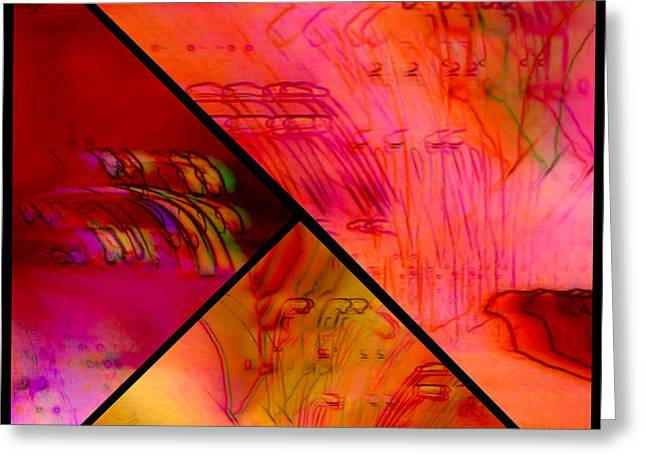 Abstract Azalea Triptych Collage Greeting Card by Susan Maxwell Schmidt