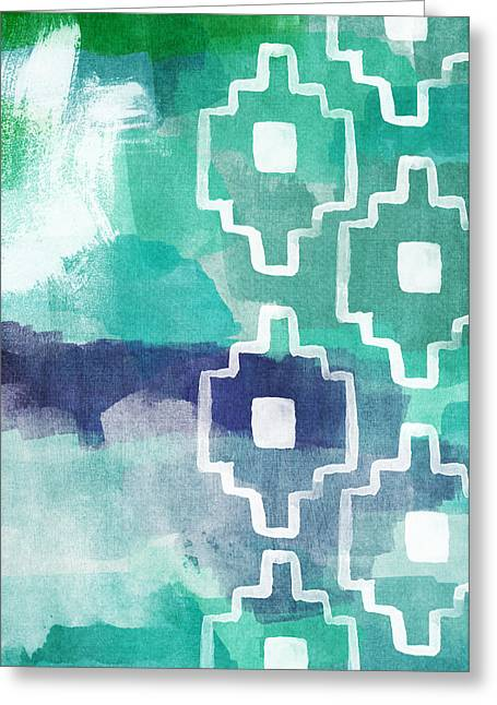 Blue And Green Greeting Cards - Abstract Aztec- contemporary abstract painting Greeting Card by Linda Woods