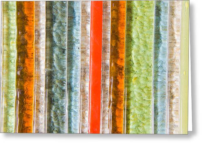 Turquoise Stained Glass Greeting Cards - Abstract background Greeting Card by Tom Gowanlock