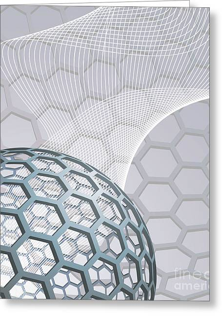 Technical Mixed Media Greeting Cards - Abstract Background With Buckyball Greeting Card by Christos Georghiou