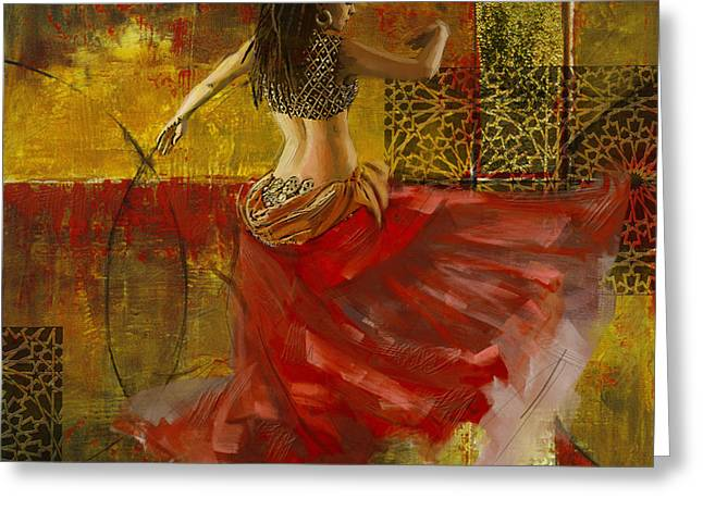 White Greeting Cards - Abstract Belly Dancer 9 Greeting Card by Mahnoor Shah