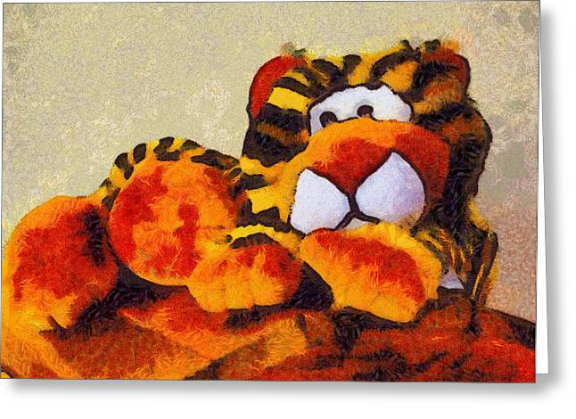 Baby Room Greeting Cards - Abstract Bengal Tiger Greeting Card by Barbara Snyder