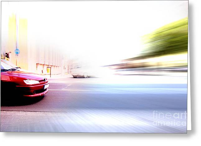 Future Office Space Greeting Cards - Abstract big city rush hour Greeting Card by Michal Bednarek