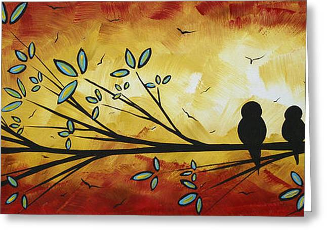 Licensor Greeting Cards - Abstract Bird Landscape Tree Blossoms Original Painting Family of Three Greeting Card by Megan Duncanson