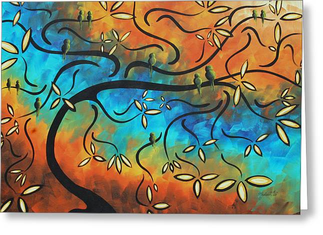 Apricot Tree Greeting Cards - Abstract Bird Painting Original Art MADART Tree House Greeting Card by Megan Duncanson