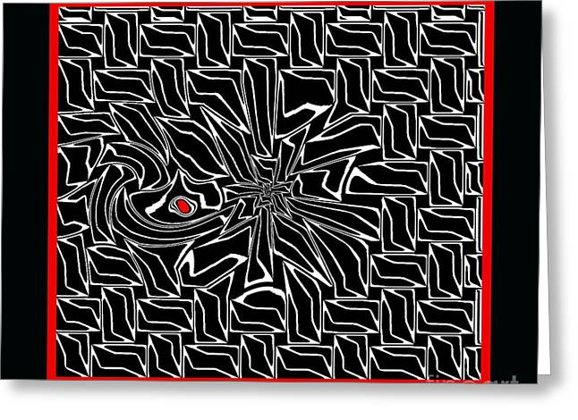 Introversion Greeting Cards - Abstract Black White Red Geometric Art Print No.43. Greeting Card by Drinka Mercep