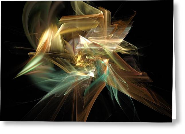 Abstract Digital Light Trails Greeting Cards - Abstract Bloom  Greeting Card by Elizabeth McTaggart