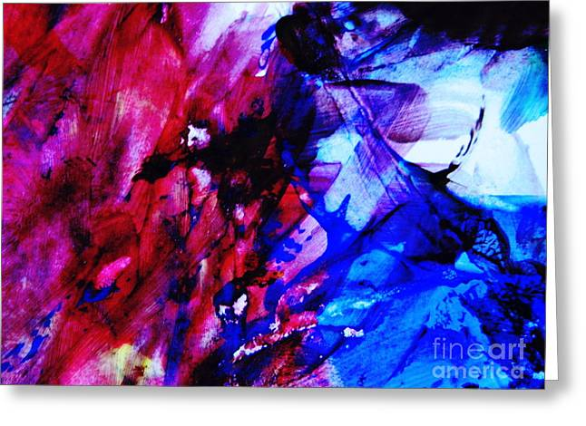 New Mind Greeting Cards - Abstract Blue and Pink Festival Greeting Card by Andrea Anderegg