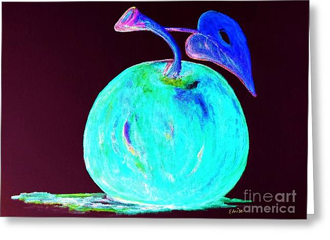 Color Enhanced Mixed Media Greeting Cards - Abstract Blue and Teal Apple Greeting Card by Eloise Schneider