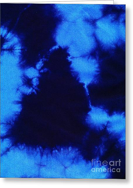 Shade Tapestries - Textiles Greeting Cards - Abstract blue batik pattern Greeting Card by Kerstin Ivarsson
