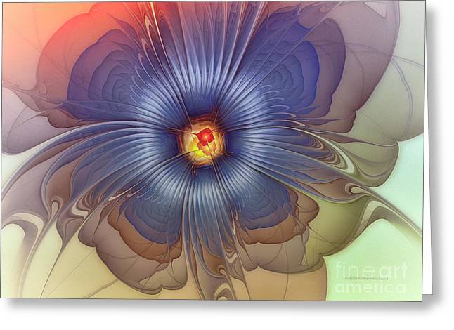 Subtile Greeting Cards - Abstract Blue Flower in Sunday Dress Greeting Card by Karin Kuhlmann