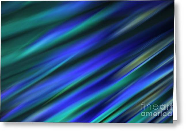 Diagonal Greeting Cards - Abstract Blue Green Diagonal Blur Greeting Card by Marvin Spates