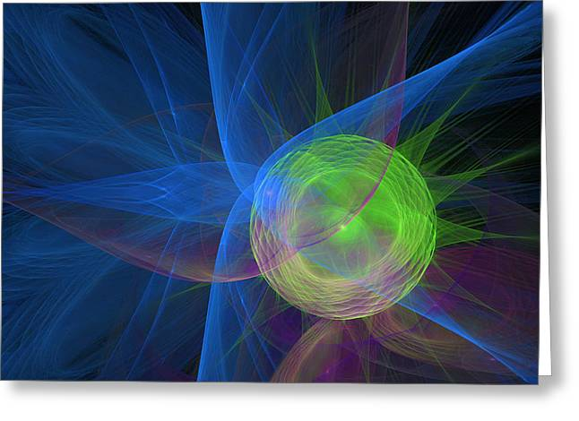 Fantasy World Greeting Cards - Abstract Blue lines with Green Circle Greeting Card by Ronel Broderick
