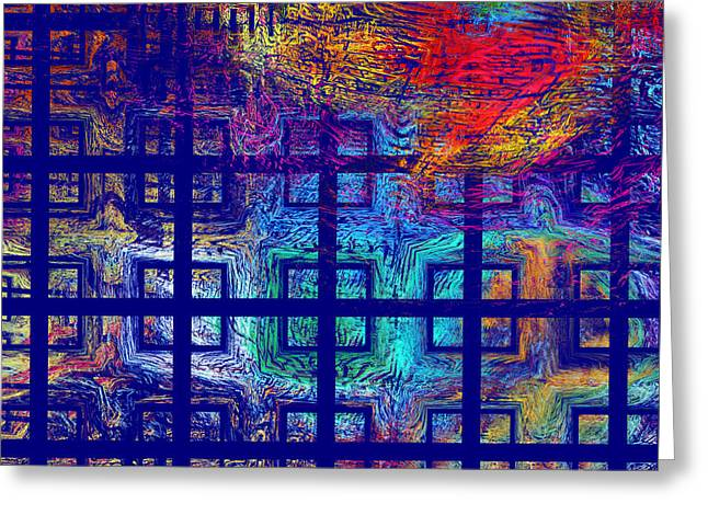 Blue Background Greeting Cards - Abstract Blue Psychedelic Tiled Fractal Flame Greeting Card by Keith Webber Jr